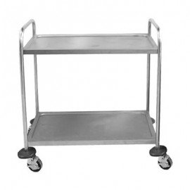 TEA TROLLEY STAINLESS STEEL  2 SHELF