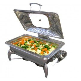 CHAFING DISH INDUCTION - RECTANGULAR - GLASS LID 9Lt