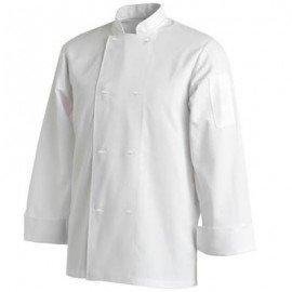CHEF UNIFORMS - BASIC WHITE POP BUTTON - LONG
