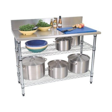 WORK TABLE S/STEEL - 2 TIER - SPLASHBACK - 1300 x 690 x 870mm