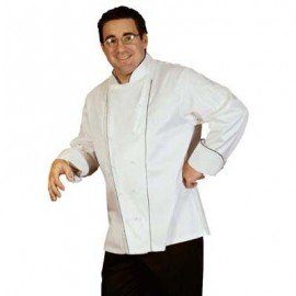 CHEFS UNIFORM  EGYPTIAN COTTON EXEC DBL PIPING LONG