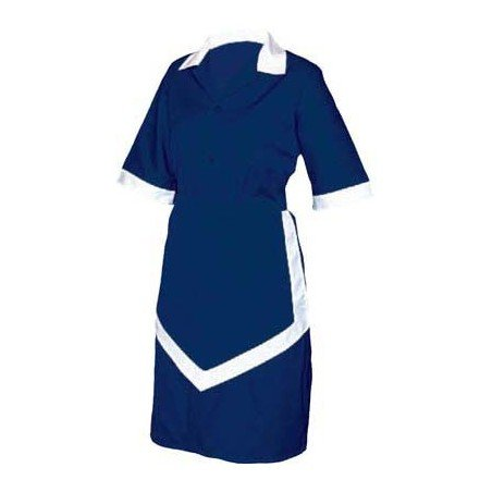 LADIES HOUSEKEEPING 3PC - NAVY AND WHITE XSMALL