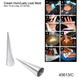 CREAM HORN S/STEEL 14 X 3.5CM